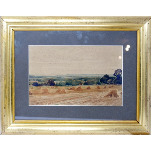 112 - Edwin Harris, Hay stacks in a rural landscape scene, watercolour, in a glazed gilt frame, 18 x 28cm...
