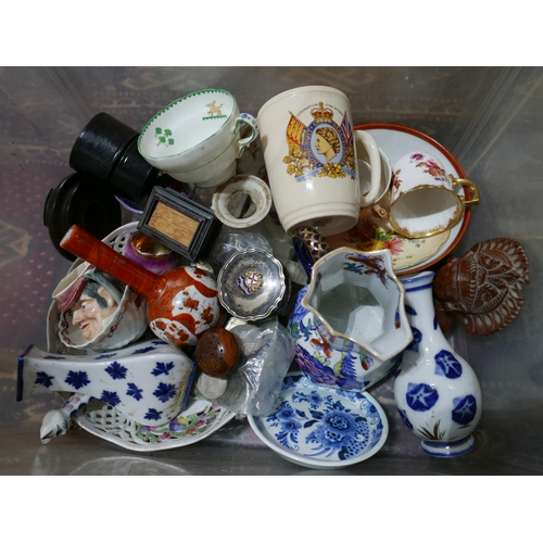 51 - A collection of vintage cut glassware and an assortment of ceramic items, arranged over two boxes...