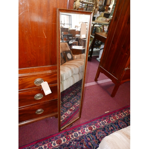 27 - A 20th century tall narrow mirror with faux burr walnut frame, 126 x 34cm...
