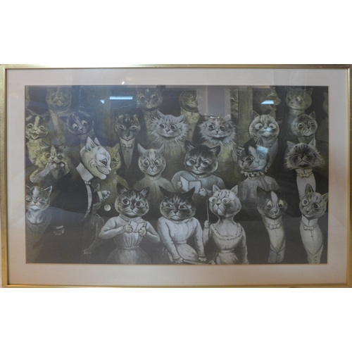 43 - A Louis Wain print titled 'No 48 The Late Comer or the Uninvited Guest,1912', with Michael Parkin ga...