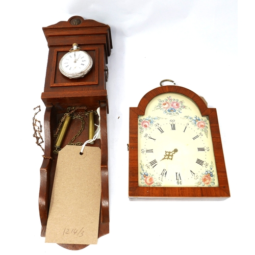 13 - A Dutch watch stand in the form of a wall clock, with brass faux weights, H.35cm, together with a si...