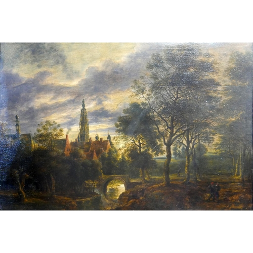 30 - School of Lucas van Uden, a landscape scene, oil on board, H.37cm W.59cm...
