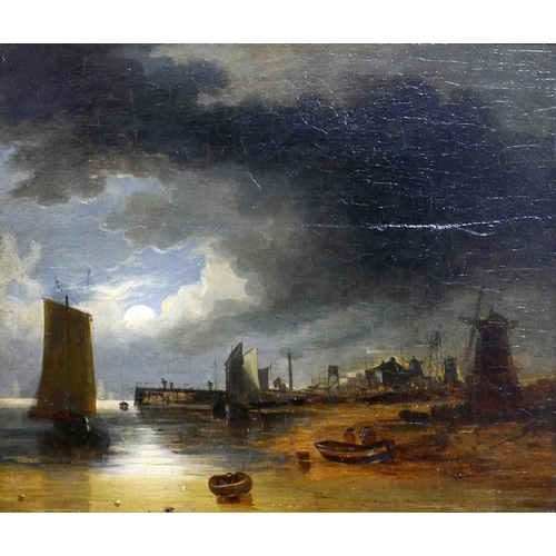 35 - John Crome the Elder, (British 1768-1821) 'Maritime Harbour Study', oil on panel, H.15.5cm W.18.5cm...