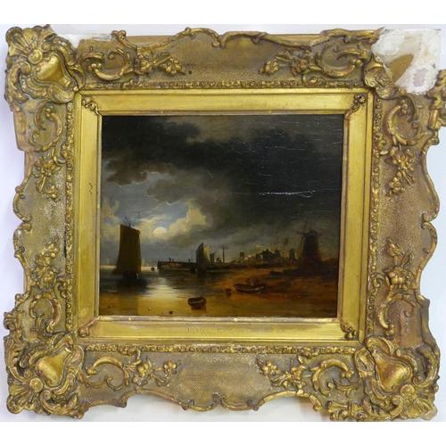 35 - John Crome the Elder, (British 1768-1821) 'Maritime Harbour Study', oil on panel, H.15.5cm W.18.5cm...