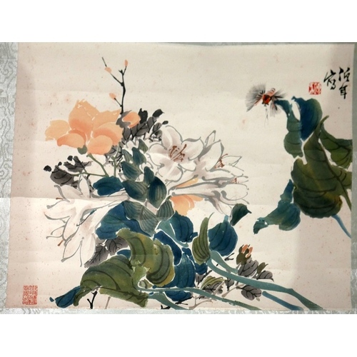 26 - A Chinese wall hanging print of tuberoses by Jen Po-nien, boxed...