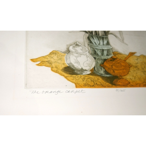 32 - A coloured lithograph 'The Orange Carpet', still life study, numbered 31/125, signed in pencil to lo...