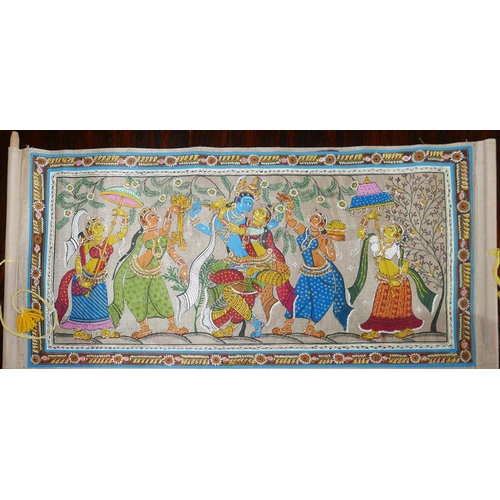 41 - An Indian hand painted scroll, decorated with Deities and attendants within stylised floral borders,...