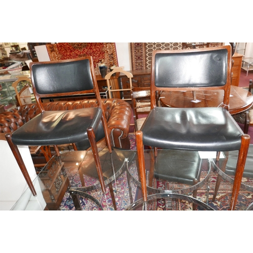 71 - A set of five mid 20th century Danish exotic hardwood dining chairs, stamped J.L. Moller...