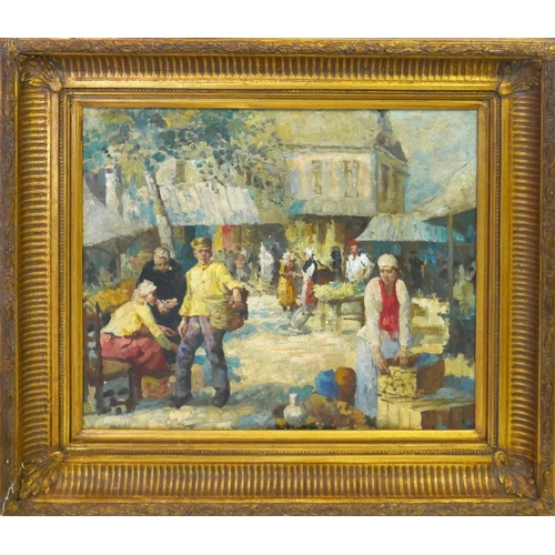16 - Early 20th century French School, an Impressionist study of a market scene, oil on board, 49 x 59cm...