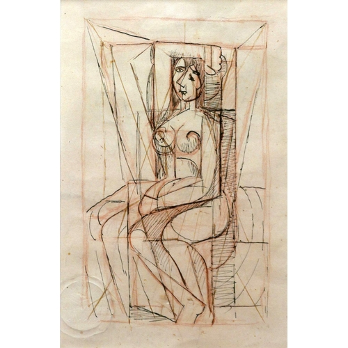 10 - Marie Marevna (Russian, 1892-1984), 'Study After Picasso', 1939, pen and crayon on paper, blind stam...