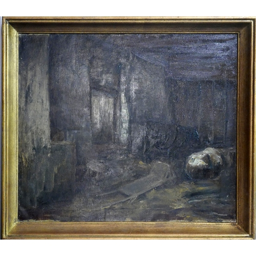 84 - Emeri Vercruyssen (Belgian, 1906-1985), Barn Interior, oil on canvas, 49 x 59cm...