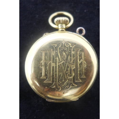 1 - A late 19th century 18ct yellow gold ladies pocket watch, movement signed L.H. Weeks, Bradford, whit...