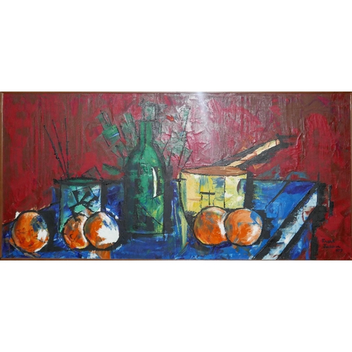 40 - Frank Jackson, still life oil on board, signed and dated 1979, 34 x 74cm...
