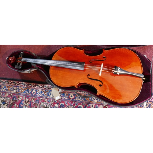 6 - An Archer size 44 cello, together with a bow, in a hard case, bares label to interior...