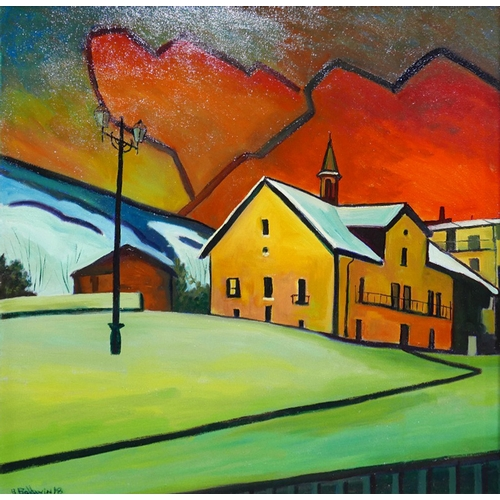 82 - Brian Baldwin, oil on canvas, church scene at sunset, signed, 55 x 57cm...