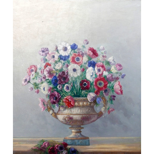 34 - Augustus William Enness (1876-1948), still life of flowers in porcelain vase, oil on canvas, signed,...