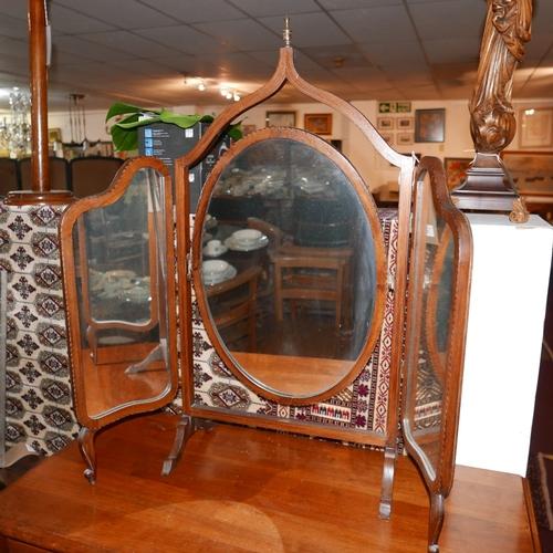 151 - An Edwardian inlaid mahogany triptych dressing mirror, H.92 W.96cm...