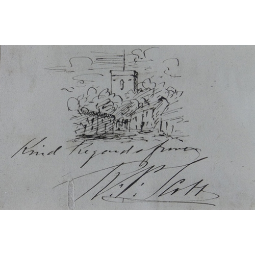 42 - A 19th century ink sketch of a church, inscribed and signed, 6 x 8cm, together with a painted print ...