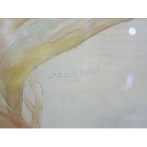11 - Attributed to Julien Dupre, Study of a Philippine eagle,  watercolour and pencil on paper, bears sig...