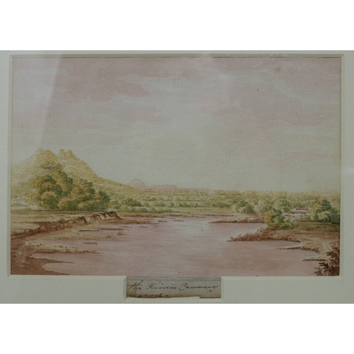 67 - Late 19th century school, three landscape studies of India by the same hand, one of a riverscape, on...