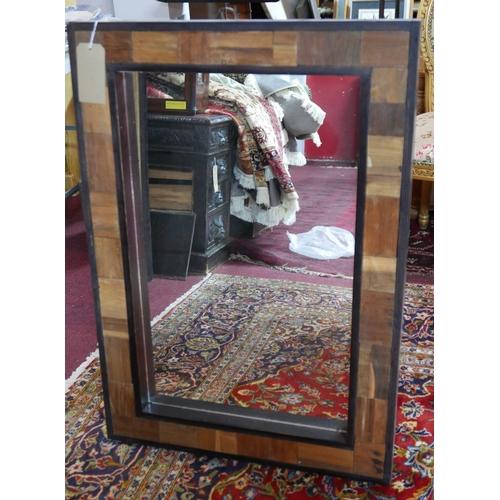 167 - A contemporary rectangular teak wall mirror, 100x70cm...