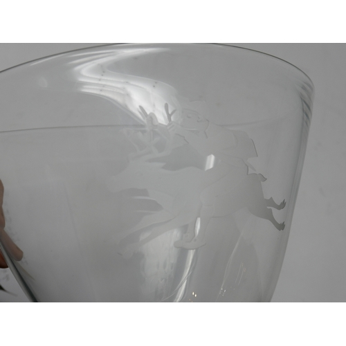 53 - A 20th century Norwegian glass vase, etched with a jockey riding a reindeer, marked to base, H.15 W....