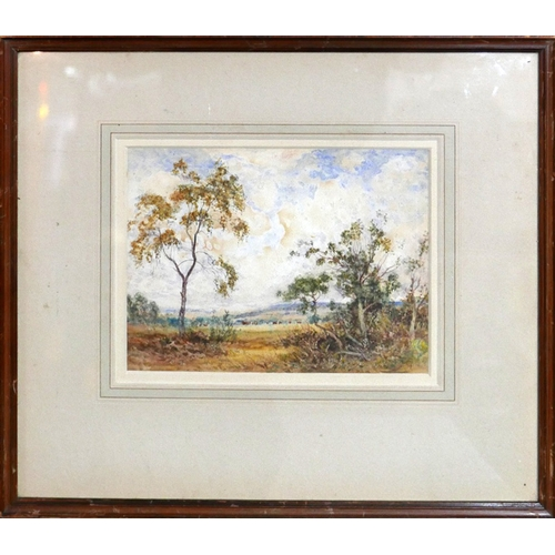 54 - Early to mid 20th century school, trees in a field on a cloudy day, watercolour, indistinctly signed...