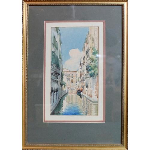 65 - Neretti (20th century Italian school), Venice canal scene, watercolour, signed lower left, framed an...