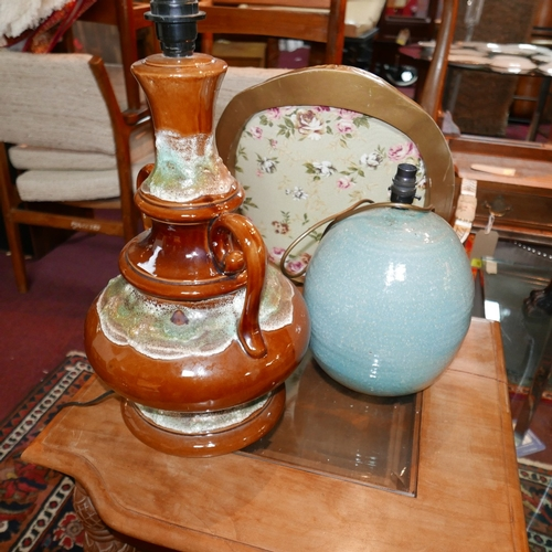 110 - A West German pottery twin handled table lamp, H.42cm, together with a turquoise glazed table lamp, ...