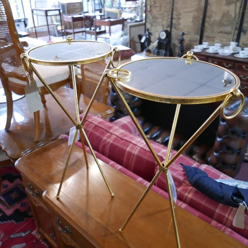 253 - A pair of gilt metal lamp tables with mirrored tops, H.74cm...