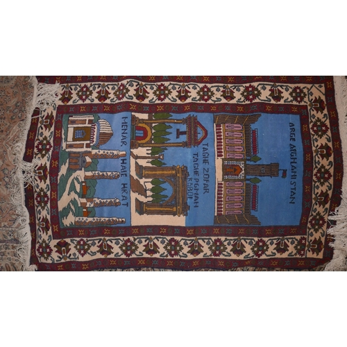 383 - An Afghan pictorial rug, 135 x 84cm...