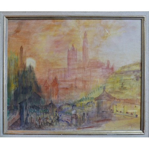 115 - After William Turner, a cityscape scene, watercolour, bearing signature lower right and dated 1841, ...