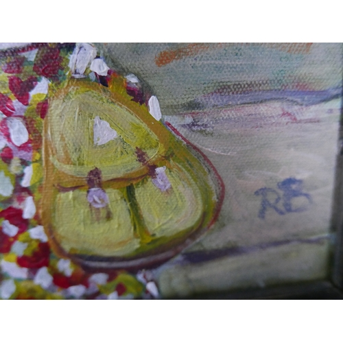 118 - Contemporary Continental School, Surrealist street scene, oil on board, signed...