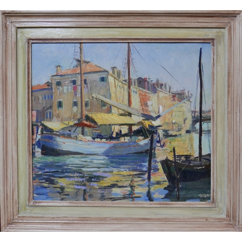 120 - 20th century British School, a harbour study, oil on board, annotated to verso...