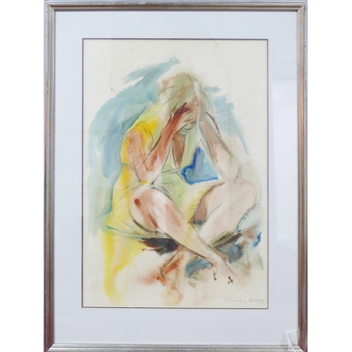 147 - A framed and glazed watercolour, seated woman, signed Barrington 83, H.62 W.43cm...