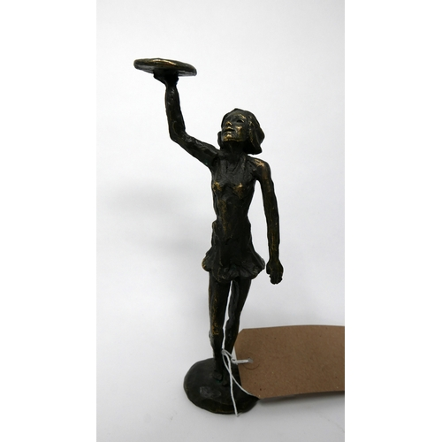 149 - A Continental bronze study of a waitress, monogrammed to base, H.22cm...