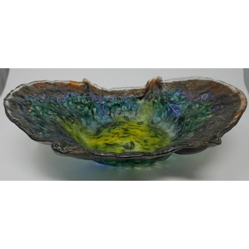 160 - An opaque Art Glass centre bowl, L.33cm...