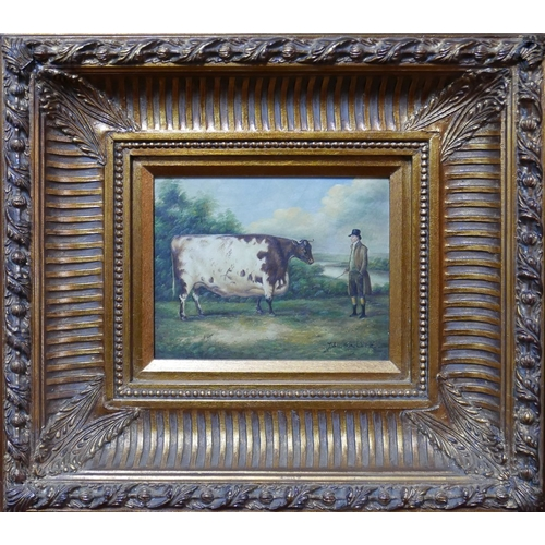 17 - John Boultbee (British,1753-1812), study of a cow, oil on panel, signed lower right, H.19cm W.23cm...