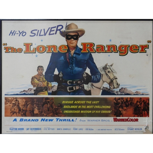 184 - A framed reproduction film advertising poster for The Lone Ranger starring Clayton Moore, H.75 W.102...