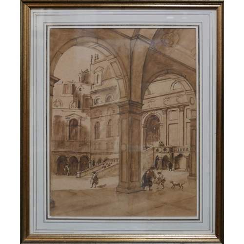 261 - A 19th century framed and glazed watercolour, arches in a courtyard, unsigned H.33 W.26cm...