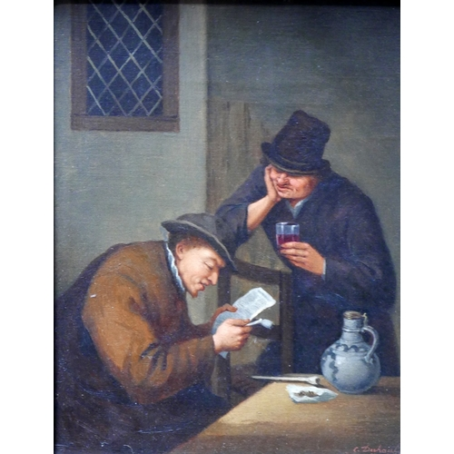 39 - After Adriaen Jansz van Ostade (19th century Dutch School), gentlemen in a public house, oil on canv...