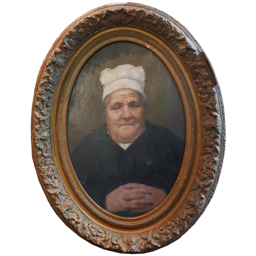 49 - 19th century Continental School, a portrait of a lady, oil on canvas, within oval giltwood frame, H....