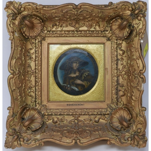89 - After Domenichino, circular painting on panel of a lady writing, in gilt frame...