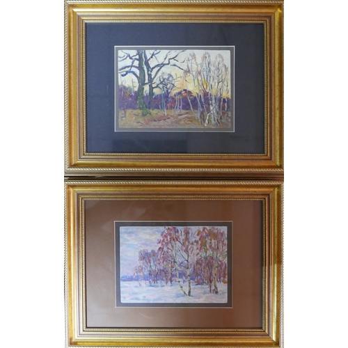 93 - Vladimir Borymchuk, two landscape scenes, oil on board...