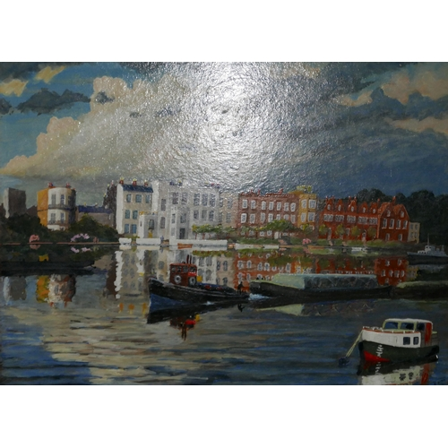 122 - E. King, London river scene, oil on board, signed lower right and dated 1974...