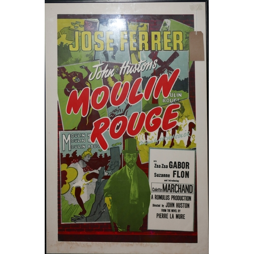29 - A film poster for Moulin Rouge directed by John Austin, printed later, framed and glazed, 91 x 57cm...