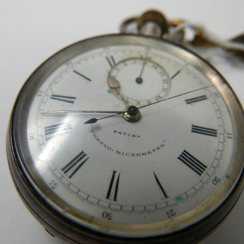 71 - A late 19th/early 20th century silver pocket watch 'Chrono-Micrometer', Roman numerals, outer track ...