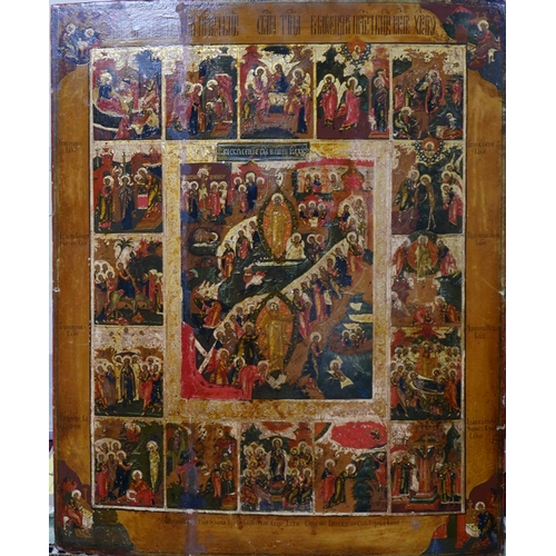 1 - A Russian icon, The Descent into Hell, the Resurrection of Christ and the Feasts, tempera on wood pa...