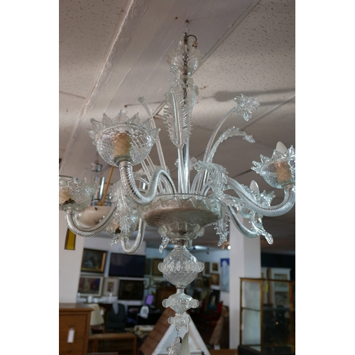 2 - An early 20th century ornate 6 branch Venetian clear-glass chandelier, together with a pair of Venet...