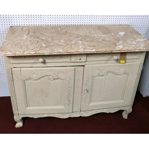27 - An 18th century French Louis XV grey painted side cabinet with marble top, having two drawers above ...